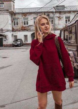 Платье-худи на флисе  бордовый