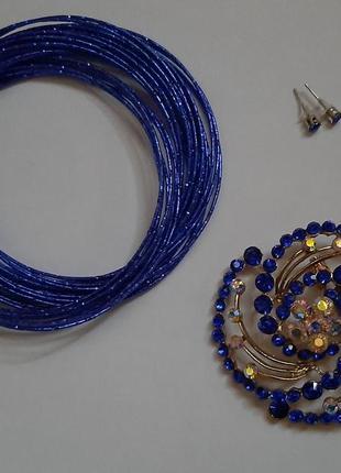 Набор: многослойный браслет, брошь, серьги
