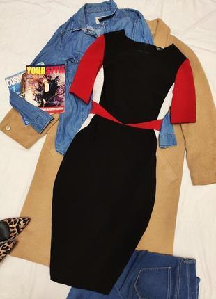 Платье красное белое чёрное миди карандаш футляр классическое на подкладке f&f