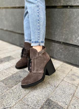 Ботинки замша средний каблук