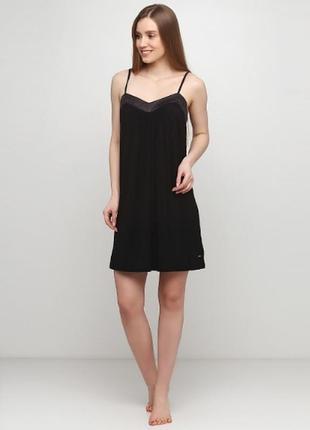 Крутой черный пеньюар кружево s\m ночная рубашка неглиже микрофибра