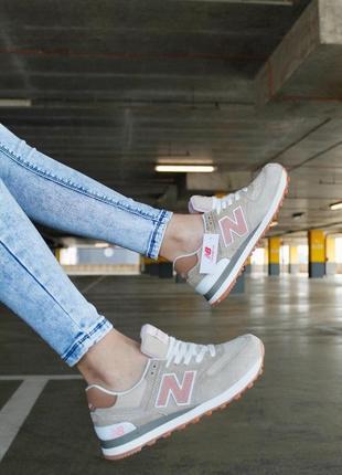 Шикарные женские кроссовки new balance 574 beige