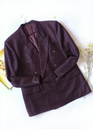 Пиджак оверсайз бойфренд в клеточку бордовый с черным шерсть винтаж