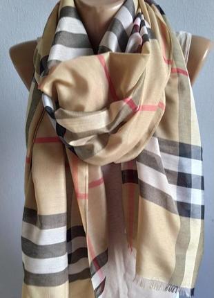 100% натуральный шелк. шарф в клетку в стиле burberry
