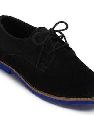 Черные замшевые туфли оксфорды steve madden 36,5-37 с синей подошвой