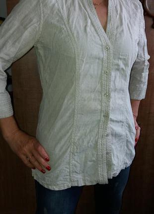 Льняная рубашка, не крашеный лен, marks&spencer