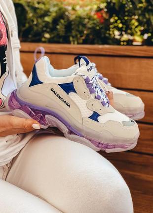 Шикарные трендовые женские кроссовки balenciaga triple s белые с фиолетовым