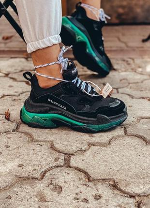 Шикарные трендовые женские кроссовки balenciaga triple s чёрные с бирюзовым
