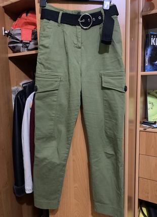 Карго брюки штаны джинсы на завышенной талии