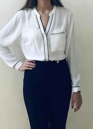Шифоновая белая рубашка блуза papaya с длинным рукавом блузка офисная строгая