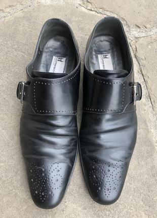 Туфли мужские чёрные с пряжкой, кожа, италия, 42