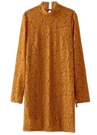 Желто-горчичное кружевное платье h&m