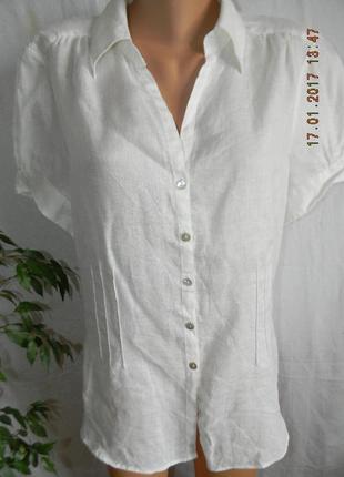Белая натуральная блуза-рубашка лен