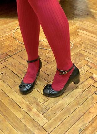 Кожаные милые туфли лолита lolita под винтаж с бантиком