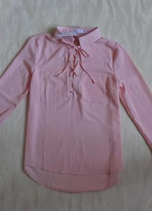 Розовая блуза со шнуровкой justfab, новая, р.м