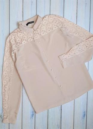 💥1+1=3 бежево-розовая блуза блузка с кружевом с длинным рукавом atmosphere, размер 46 - 48