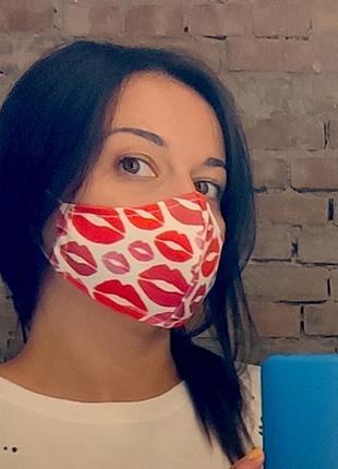 Защитная маска для лица, размер s-m вірю в себе та в червону помаду (smm_20s054)