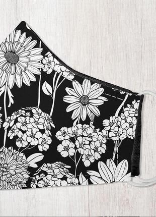 Защитная маска для лица, размер s-m полевые черно-белые цветы (smm_20s056)