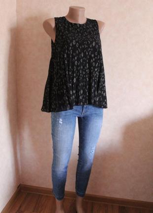Блуза плиссе, черная