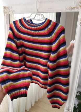 Стильный объёмный свитер с объёмными рукавами, новый