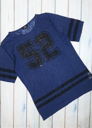 💥1+1=3 модная синяя женская футболка, размер 44 - 46