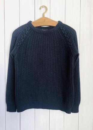 Свитер кофта джемпер пуловер синий вязаный тёплый зимний