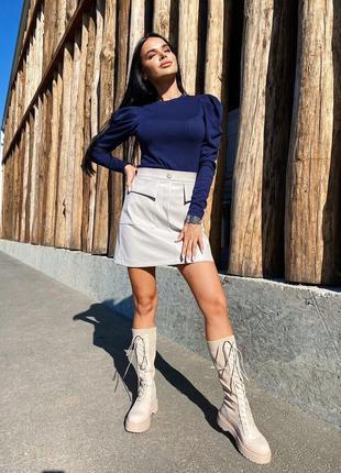 Комплект юбка эко кожа и гольф