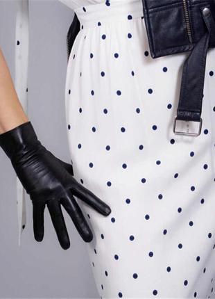 Перчатки кожаные женские/ однослойные/италия/ р.7,5 черные