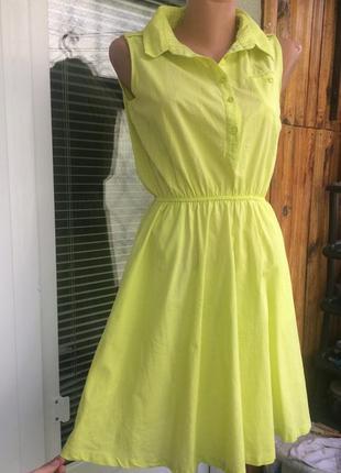 Летнее платье сарафан лимонного цвета