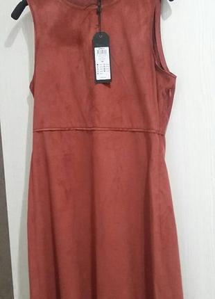 Платье замшевое, цвет красно кирпичный