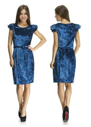 Бархатное сине-бирюзовое платье