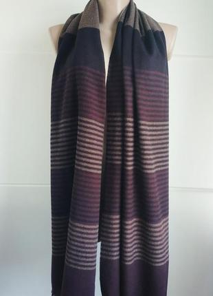 Новый большой тёплый шарф marks & spencer в полоску из шерстяной смесовой ткани.