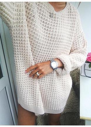 Объемное вязаное пудровое платье oversize з с молнией на спине от h&m