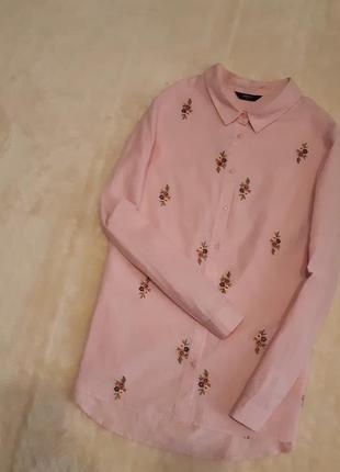 Новая рубашка хлопок розовый зефир вышивка длинный рукав размер 16-18 papaya