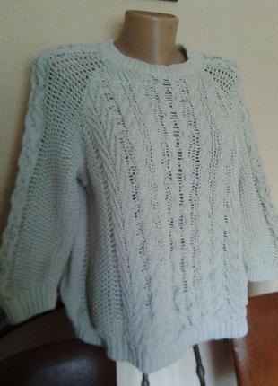 Фирменный вязанный (хлопок)свитер-джемпер-реглан от mango