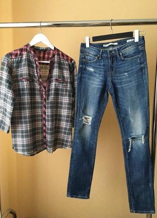 Комплект рубашка в клетку джинсы zara