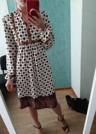 Шикарное платье миди свободного кроя с красивыми рукавчиками