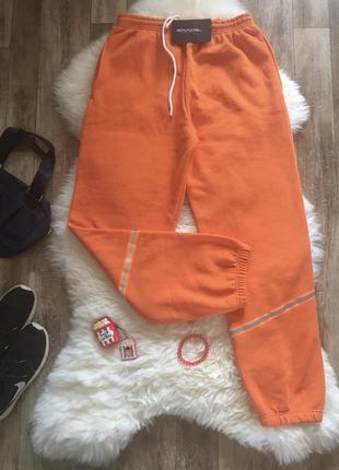 Джоггеры спортивные штаны оранжевые 🧡 на флисе
