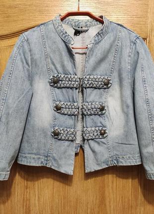 Crazy world голубая укороченная джинсовая куртка с рукавом 3/4, женская джинсовка