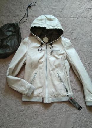 Новая непродуваемая кожаная куртка oakwood 100% кожа+мембрана thinsulate™ пудра