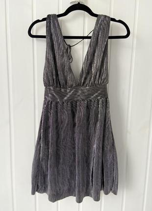 Серебристое платье mango