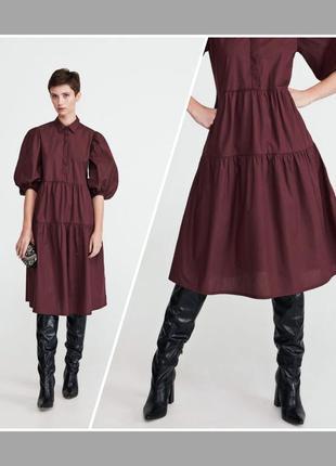 Натуральное шикарное ярусное платье оверсайз с объёмными рукавами