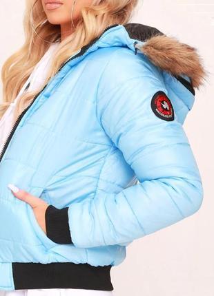Rising. товар из англии. деми куртка стеганная в голубой палитре.