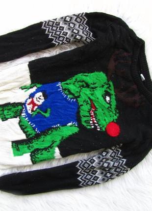 Кофта свитер tu светится новый год новогодний свитер санта новый год дино