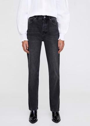 Regular джинсы на высокой посадке графит, плотные новые, прямого фасона pull&bear