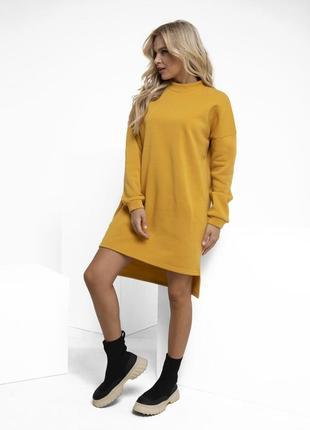 Модное утепленное флисом асимметричное платье разные цвета