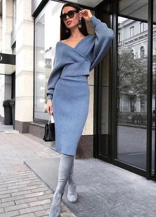 Вязаный костюм❤️ юбка/ свитер