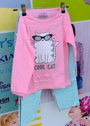 """Комплект пижамок  """"котенок"""" примарк для девочек упаковка primark"""