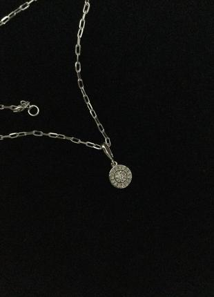 Цепочка с кулоном в белом золоте с бриллиантами
