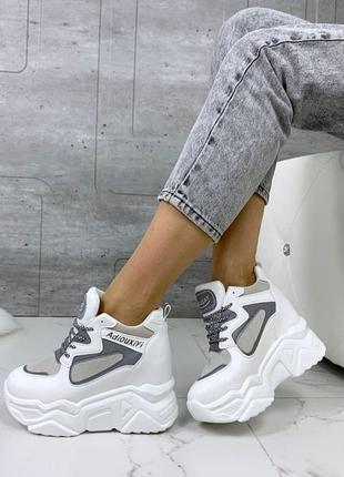 Крутые белые серые сникерсы кроссовки на платформе танкетке 37,38,39,40